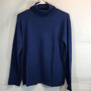Winter Silks Large Blue Long Sleeve Turtleneck